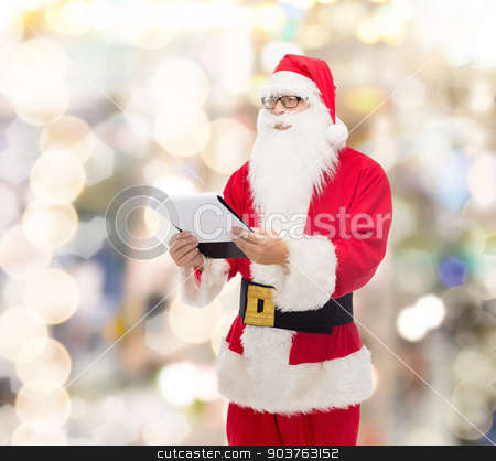 man in costume of santa claus with notepad stock photo, christmas, holidays and people concept - man in costume of santa claus with notepad over lights background by Syda Productions