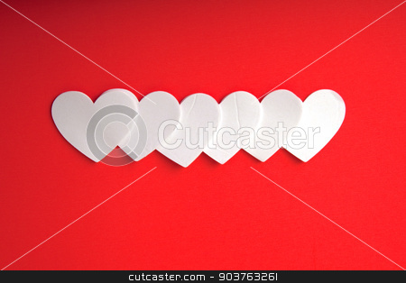 White Hearts stock photo, White foam hearts on a red background. by Scott Sanders