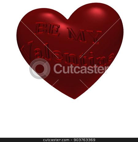Inscription Be My Valentine stock photo, Three-dimensional inscription Be My Valentine on red heart. by Anatolii Vasilev