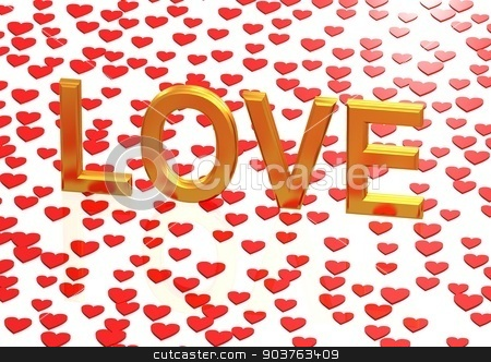 Three-dimensional inscription LOVE stock photo, Glossy three-dimensional inscription LOVE as a sign. by Anatolii Vasilev