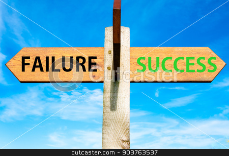 Failure and Success messages, Success conceptual image stock photo, Wooden signpost with two opposite arrows over clear blue sky, Failure and Success messages, Success conceptual image by Constantin Stanciu