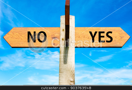 Wooden signpost with two opposite arrows over clear blue sky, YES and No messages, Decisional conceptual image stock photo, Wooden signpost with two opposite arrows over clear blue sky, YES and No messages, Decisional conceptual image by Constantin Stanciu