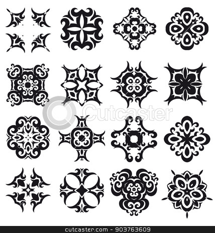 Nice abstract flower elements stock vector clipart, 	Nice abstract flower elements for creative art and design work by Maria Repkova