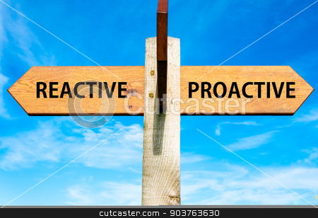 Wooden signpost with two opposite arrows over clear blue sky, Reactive versus Proactive messages, Behaviour conceptual image stock photo, Wooden signpost with two opposite arrows over clear blue sky, Reactive versus Proactive messages, Behaviour conceptual image by Constantin Stanciu