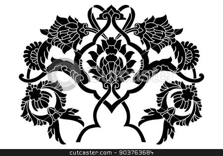 black artistic ottoman motif series stock vector clipart, Ornament and design Ottoman decorative arts by Sevgi Dal