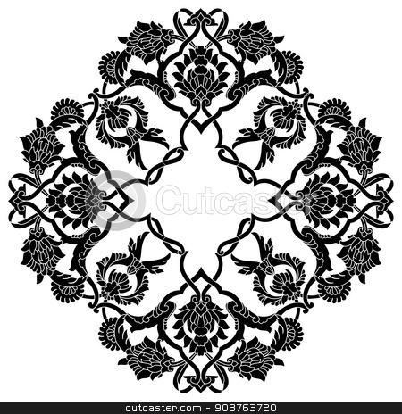 black artistic ottoman pattern series fifty three version stock vector clipart, Ornament and design Ottoman decorative arts by Sevgi Dal
