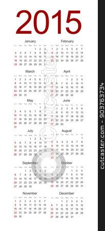 vector modern 2015 calendar on white stock vector clipart, vector modern 2015 calendar on white background by petr zaika