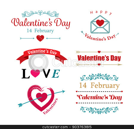 valentines day symbol stock vector clipart, valentines day symbol by kaisorn