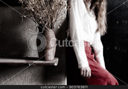 nostalgic sadness stock photo, young girl and the jug with dried flowers by Suchota
