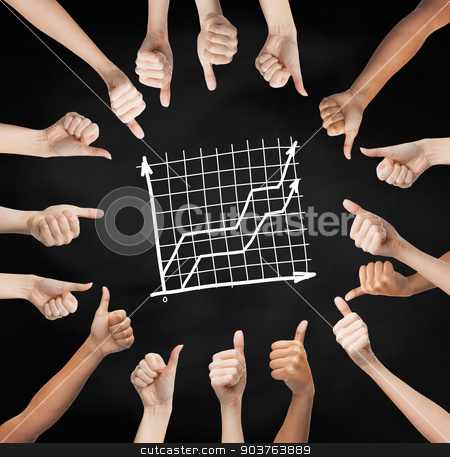 hands showing thumbs up in circle over graph stock photo, gesture, people, business and development concept - human hands showing thumbs up in circle over black board background with graph by Syda Productions