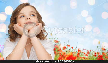 happy girl dreaming over poppy field background stock photo, children, childhood, nature, summer and happy people concept - beautiful girl looking up and dreaming over poppy field and lights background by Syda Productions