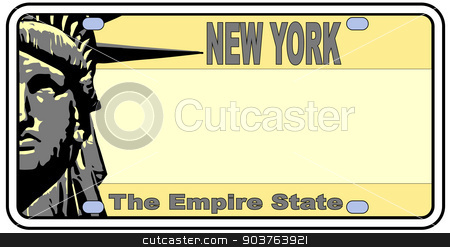 New York Liberty State stock vector clipart, New York license plate in the colors of the state flag with the flag icons over a white background by Kotto