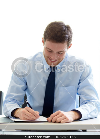 smiling businessman signing papers in office stock photo, business, people and work concept - smiling businessman sitting and writing or signing papers in office by Syda Productions