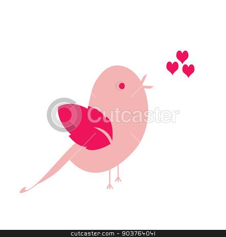 Happy Valentine's bird pink stock vector clipart, Happy Valentine's pink bird sings a love song by Maja Brncic
