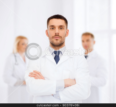 male doctor in white coat stock photo, healthcare, profession and medicine concept - male doctor in white coat over white background by Syda Productions
