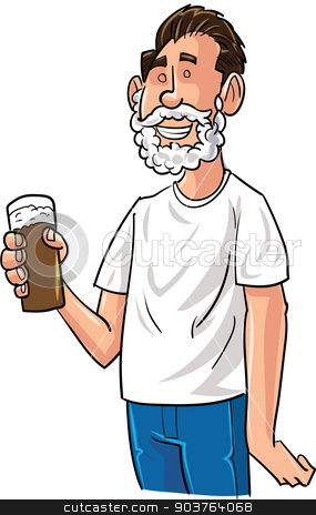 Cartoon beer drinker with Santa beard stock vector clipart, Cartoon beer drinker with Santa beard. Isolated by antonbrand
