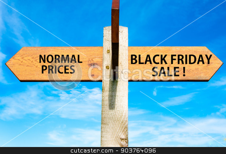 Wooden signpost with two opposite arrows over clear blue sky, Normal Prices versus Black Friday sale messages, Sales conceptual image stock photo, Wooden signpost with two opposite arrows over clear blue sky, Normal Prices versus Black Friday sale messages, Sales conceptual image by Constantin Stanciu