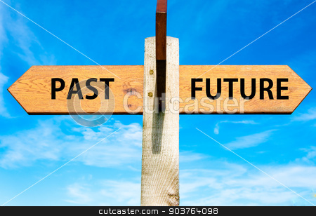 Wooden signpost with two opposite arrows over clear blue sky, Past versus Future messages, Mindset conceptual image stock photo, Wooden signpost with two opposite arrows over clear blue sky, Past versus Future messages, Mindset conceptual image by Constantin Stanciu