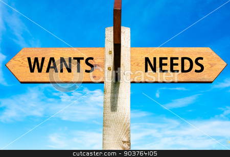 Wooden signpost with two opposite arrows over clear blue sky, Wants versus Needs messages, Consumerism conceptual image stock photo, Wooden signpost with two opposite arrows over clear blue sky, Wants versus Needs messages, Consumerism conceptual image by Constantin Stanciu