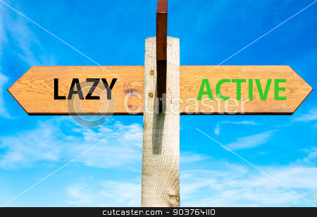 Wooden signpost with two opposite arrows over clear blue sky, Lazy versus Active messages, Healthy Lifestyle conceptual image stock photo, Wooden signpost with two opposite arrows over clear blue sky, Lazy versus Active messages, Healthy Lifestyle conceptual image by Constantin Stanciu