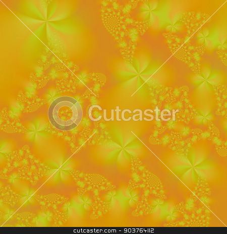 Floral Spirals in Orange and Yellow stock photo, An abstract fractal image with a floral spiral design in orange and yellow. by Colin Forrest