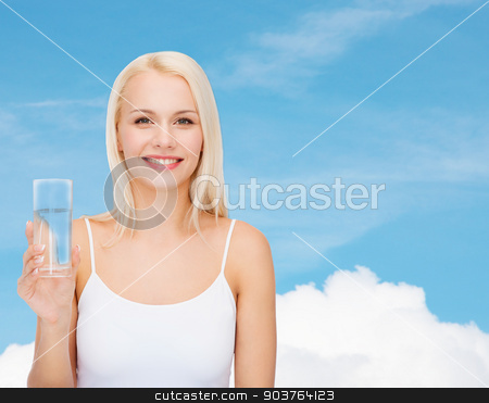 young smiling woman with glass of water stock photo, health and beauty concept - young smiling woman with glass of water by Syda Productions