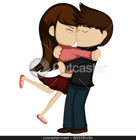 Kiss collection  stock vector clipart, Lovely couple is embracing and kissing (a brunette girl in red skirt and a brown haired boy). by arleevector