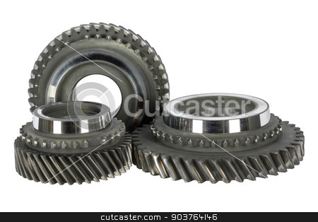 Cog wheels stock photo, Cog wheels removed from the mainshaft of gearbox by marekusz