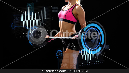 sporty woman exercising with barbell stock photo, fitness, sport and dieting concept - sporty woman exercising with barbell by Syda Productions