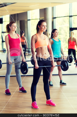 group of women with barbells in gym stock photo, fitness, sport, training and lifestyle concept - group of women with barbells in gym by Syda Productions