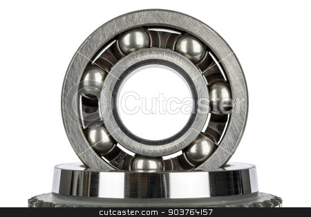 Worn ball bearing  stock photo, Worn ball bearing set upright and isolated on white by marekusz