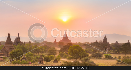 Tamples of Bagan, Burma, Myanmar, Asia. stock photo, Sunset over temples of Bagan, an ancient city located in the Mandalay Region of Burma, Myanmar, Asia. by kasto