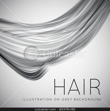 Closeup of long human hair stock photo, Closeup of long human hair. Vector illustraion on grey background by sermax55