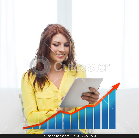 smiling woman with tablet pc and growth chart stock photo, people, technology, statistic sand business concept - smiling woman with tablet pc computer and growth chart at home by Syda Productions