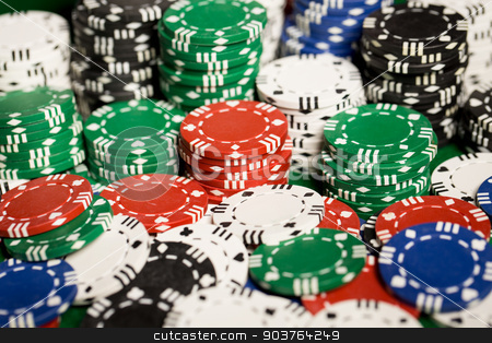 close up of casino chips background stock photo, gambling, fortune, game and entertainment concept - close up of casino chips background by Syda Productions