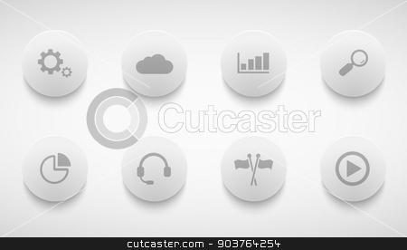 Vector modern technology circle icons set  stock vector clipart, Vector modern technology circle icons set on grey background by petr zaika