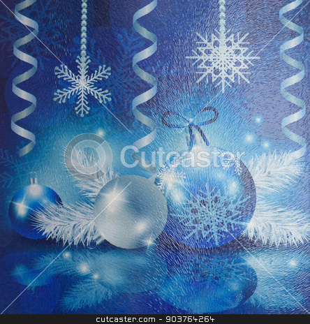 Snowflakes, balls, streamers stock photo, Christmas collage on fluted glass. Snowflakes, balls, streamers. by IgorTravkin