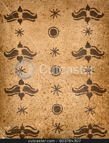 very old wallpaper background with a pattern stock photo, High resolution antique faded paper background with pattern. foxing. by Suchota