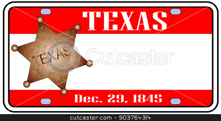 Texas Plate stock vector clipart, Texas state license plate in the colors of the state flag with the flag icons over a white background by Kotto