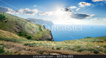View on sea stock photo, View on sea from the top of a mountain by Givaga