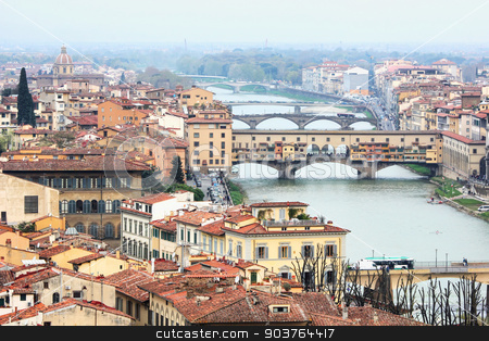 Ponte Vecchio in Florence, Italy stock photo, View of Florence from Piazzale Michelangelo with focus on Ponte Vecchio. by Brigida Soriano