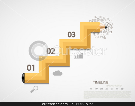 Vector modern pencil infographic stock vector clipart, Vector modern pencil infographic. business or education background. by petr zaika