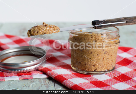 Homemad stoneground mustard stock photo, gourmey whole ground mustard by Victor Bouchard