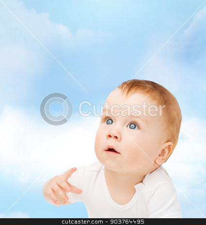 curious baby looking up stock photo, child and toddler concept - curious baby looking up by Syda Productions