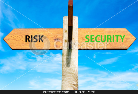 Wooden signpost with two opposite arrows over clear blue sky, Risk versus Security messages, Lifestyle change conceptual image stock photo, Wooden signpost with two opposite arrows over clear blue sky, Risk versus Security messages, Lifestyle change conceptual image by Constantin Stanciu