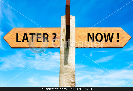 Wooden signpost with two opposite arrows over clear blue sky, Later versus Now messages, Lifestyle change conceptual image stock photo, Wooden signpost with two opposite arrows over clear blue sky, Later versus Now messages, Lifestyle change conceptual image by Constantin Stanciu