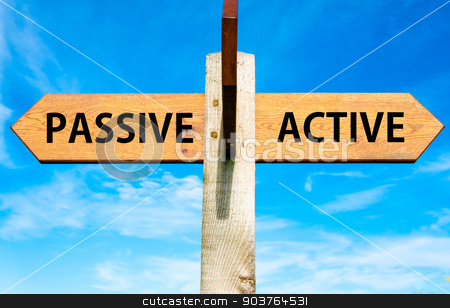 Wooden signpost with two opposite arrows over clear blue sky, Passive versus Active messages, Lifestyle change conceptual image stock photo, Wooden signpost with two opposite arrows over clear blue sky, Passive versus Active messages, Lifestyle change conceptual image by Constantin Stanciu