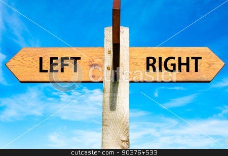 Wooden signpost with two opposite arrows over clear blue sky, Left versus Right messages, Choice conceptual image stock photo, Wooden signpost with two opposite arrows over clear blue sky, Left versus Right messages, Choice conceptual image by Constantin Stanciu