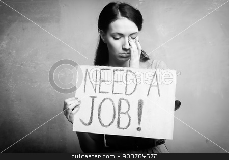 unemployment stock photo, young girl holds a cardboard sign. Need a Job. black and white by Suchota