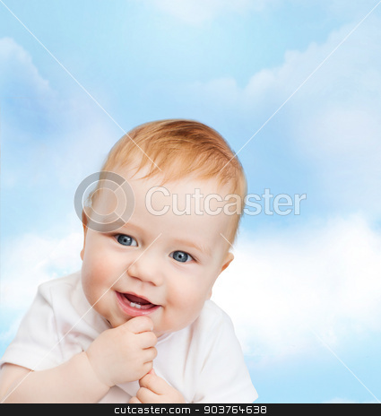 smiling little baby stock photo, child and toddler concept - smiling little baby by Syda Productions